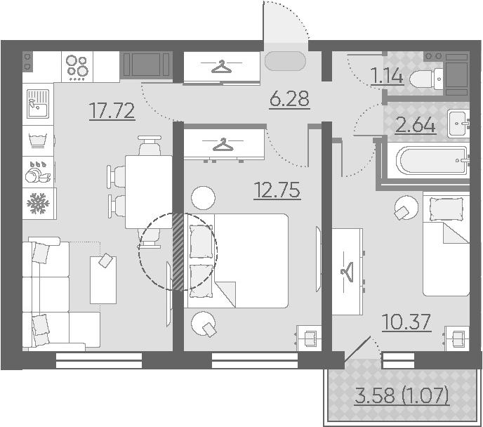 3-к.кв (евро), 54.47 м²