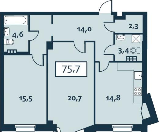 2-к.кв, 75.68 м²