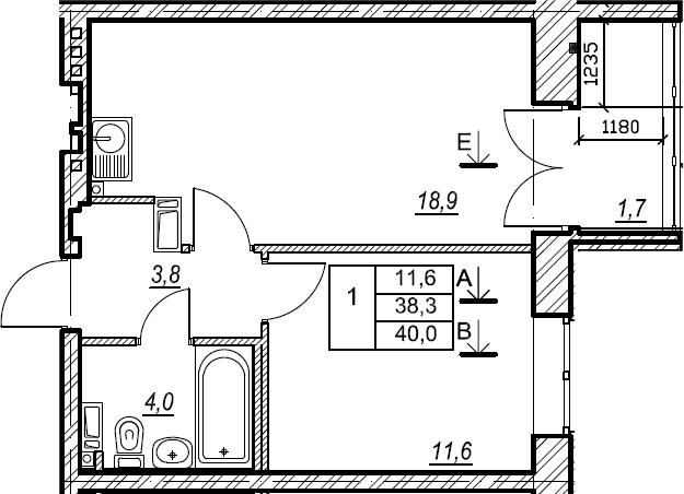 1-к.кв, 40 м², 6 этаж