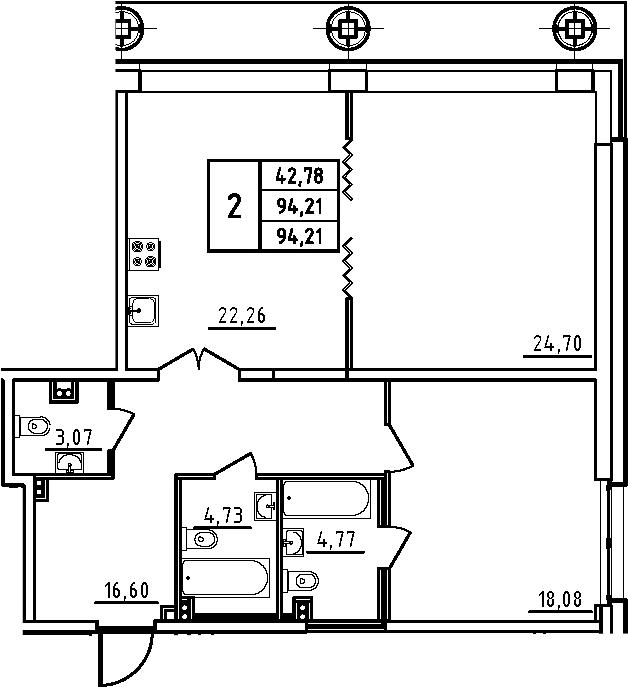 3Е-комнатная, 94.21 м²– 2