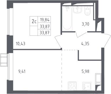 2Е-к.кв, 33.87 м², 11 этаж