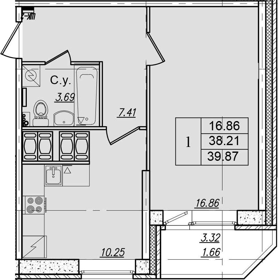 1-к.кв, 41.53 м²