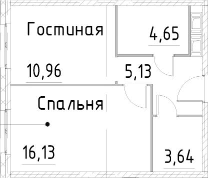 1-к.кв, 40.5 м², 22 этаж