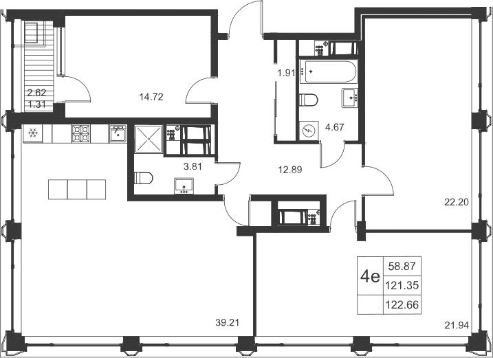 4Е-комнатная, 122.66 м²– 2