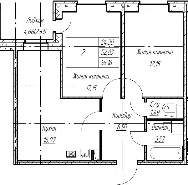 3Е-комнатная, 55.16 м²– 2