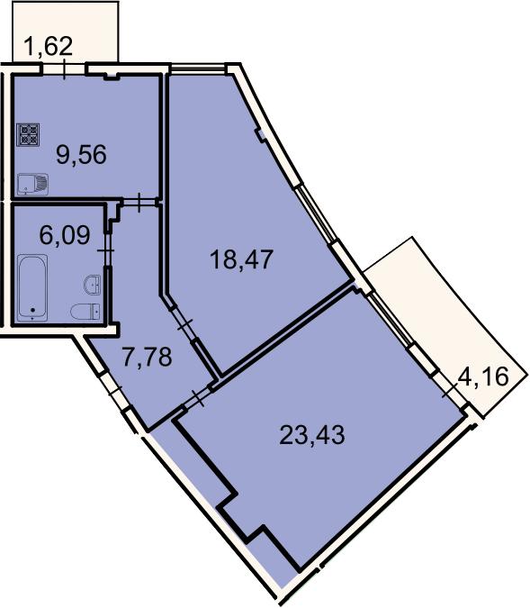 2-к.кв, 67.1 м², 3 этаж