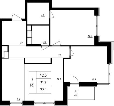 3Е-к.кв, 72.1 м², 7 этаж