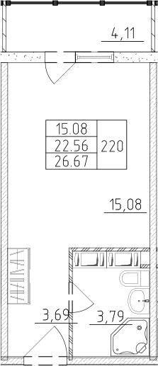 Студия, 23.79 м², 17 этаж