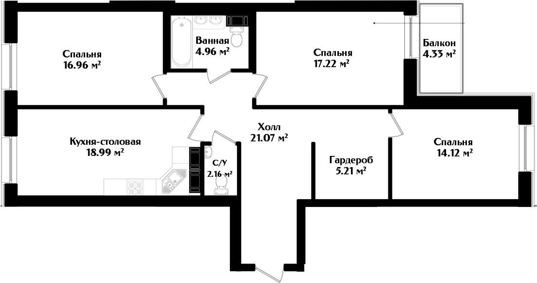 4-к.кв (евро), 105.02 м²