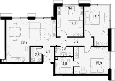 4Е-комнатная, 92.1 м²– 2