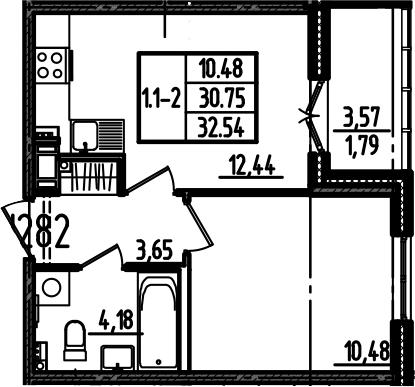 1-к.кв, 32.54 м²
