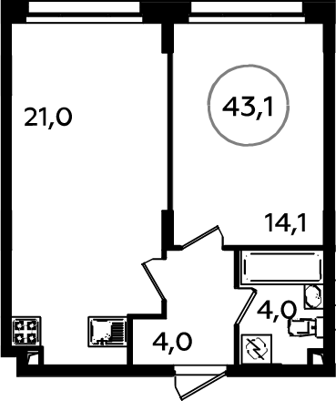 2-к.кв (евро), 43.1 м²