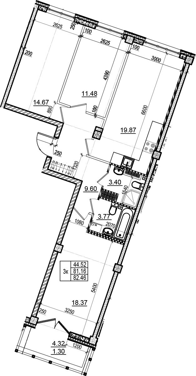 4Е-комнатная, 82.46 м²– 2