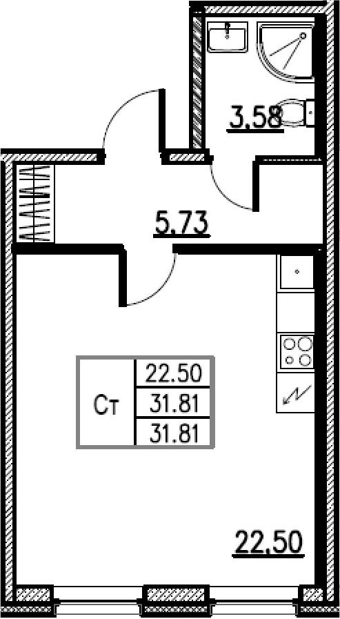 Студия, 31.81 м²– 2