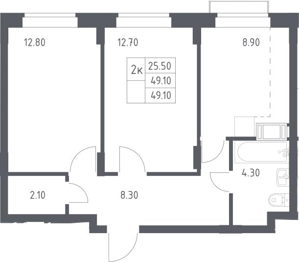 2-к.кв, 49.1 м²