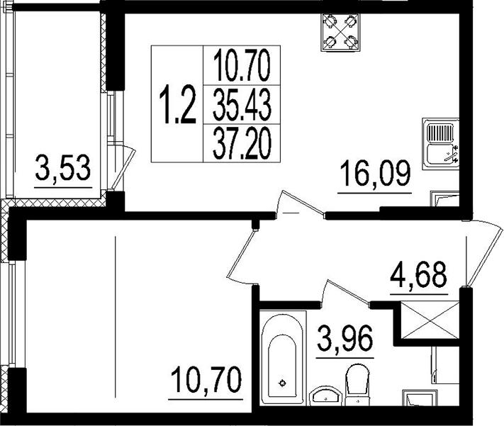 2Е-к.кв, 35.43 м²