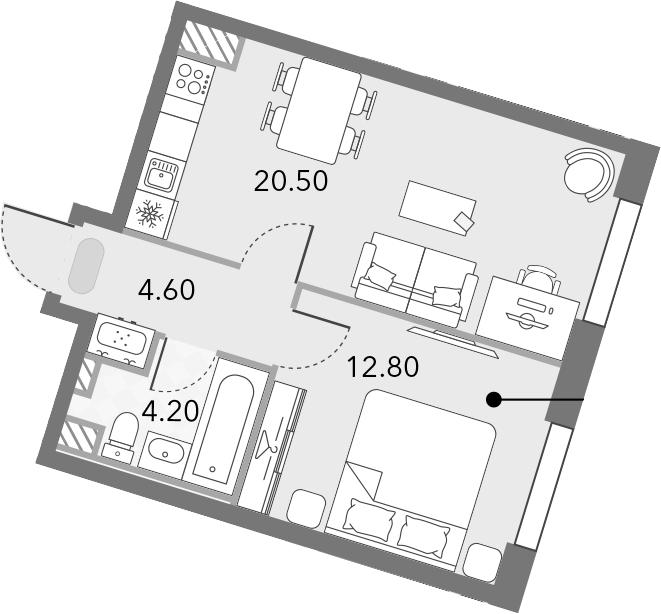2Е-комнатная квартира, 42.1 м², 4 этаж – Планировка