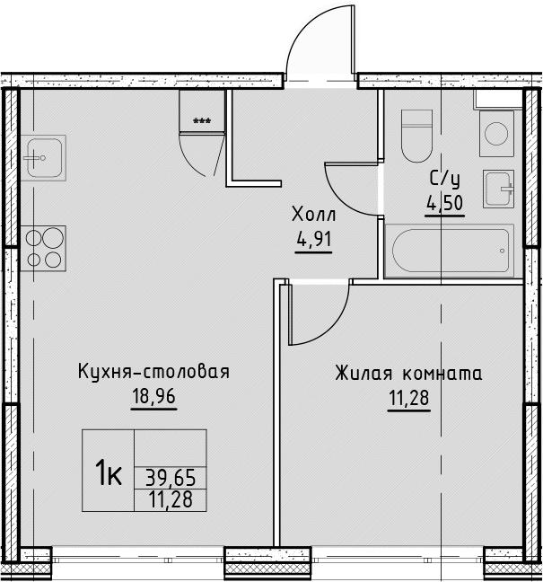 2Е-комнатная квартира, 39.65 м², 15 этаж – Планировка