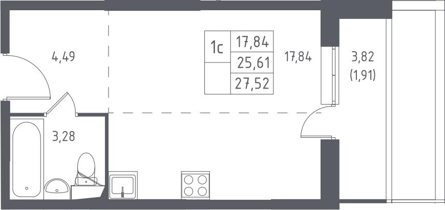 Студия, 29.43 м²