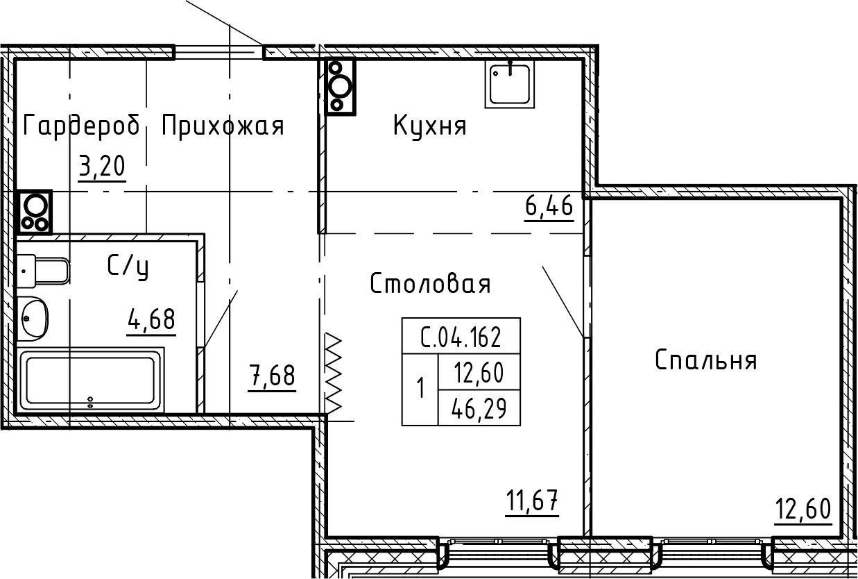 1-к.кв, 46.29 м²