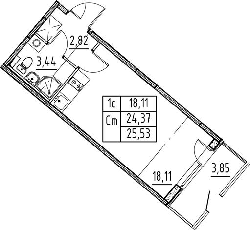Студия, 24.37 м², 1 этаж