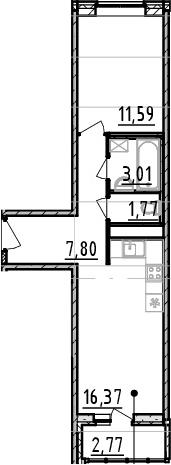 1-к.кв, 43.31 м²