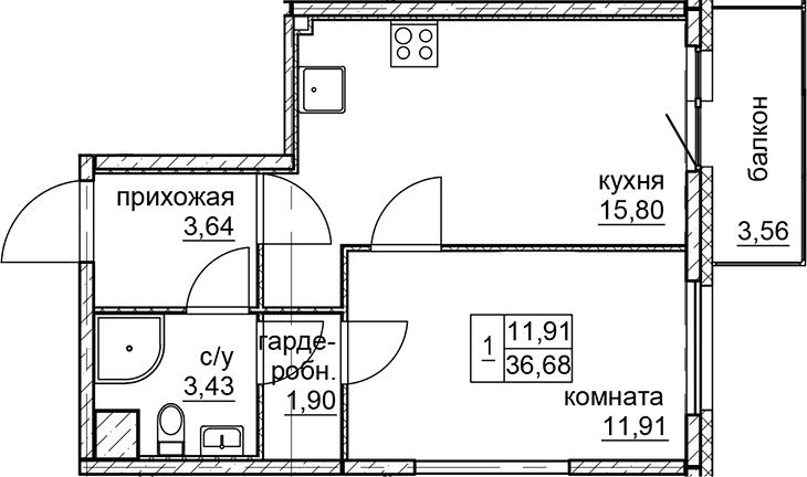 1-к.кв, 36.68 м²