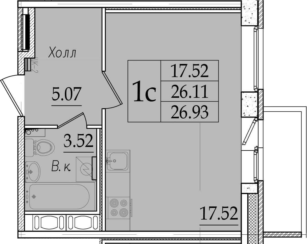 Студия, 28.84 м²
