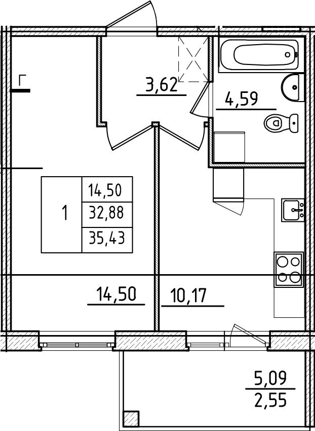 1-к.кв, 37.98 м²