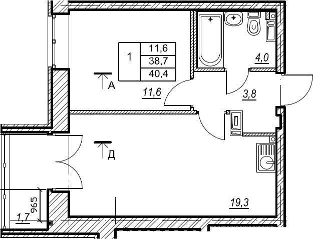 1-к.кв, 40.5 м², 3 этаж
