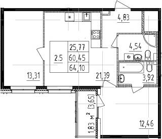 3Е-комнатная, 60.45 м²– 2