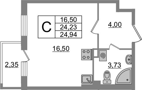 Студия, 24.94 м²