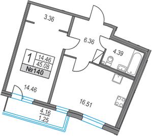 2Е-к.кв, 45.08 м², 15 этаж