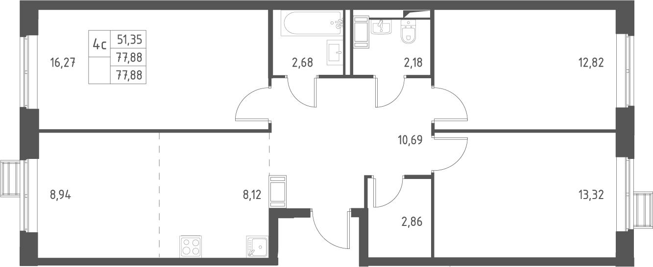 4Е-комнатная, 77.88 м²– 2