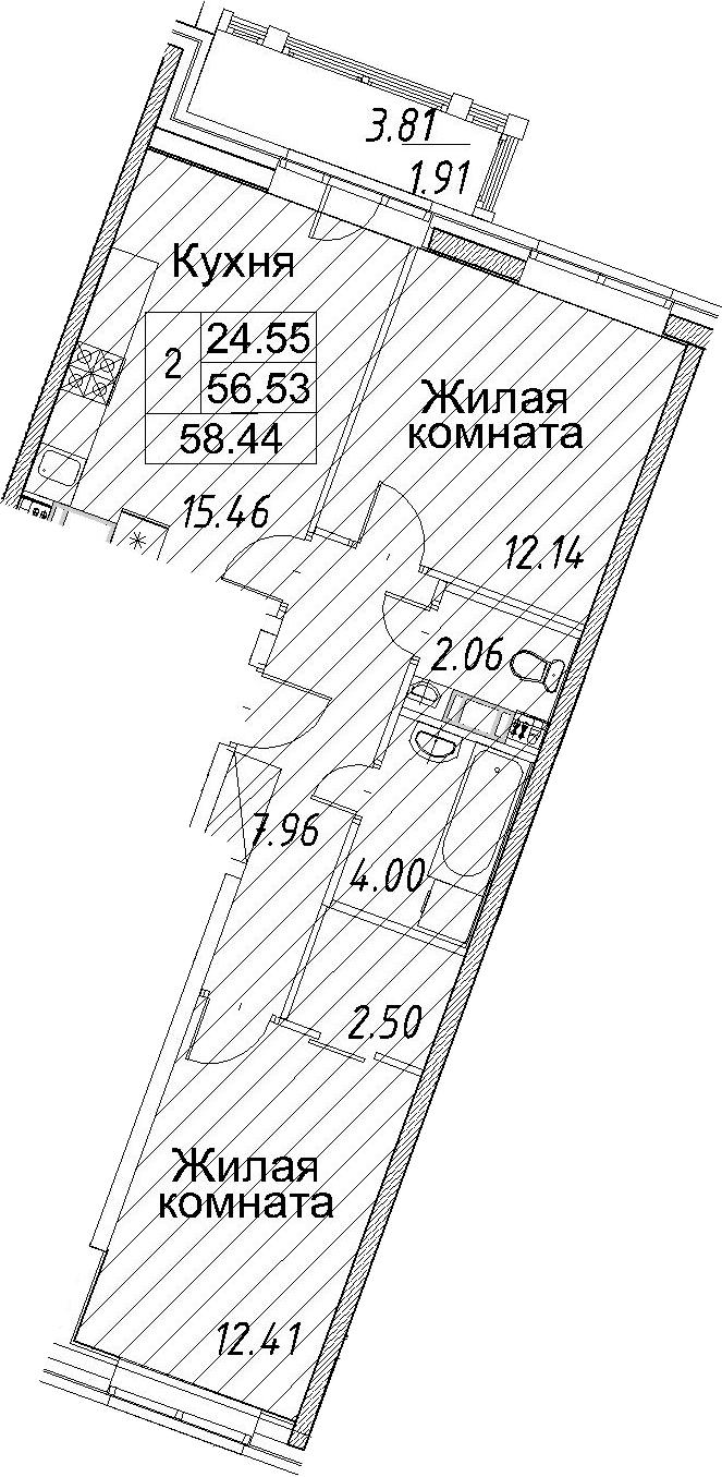 3-к.кв (евро), 60.35 м²