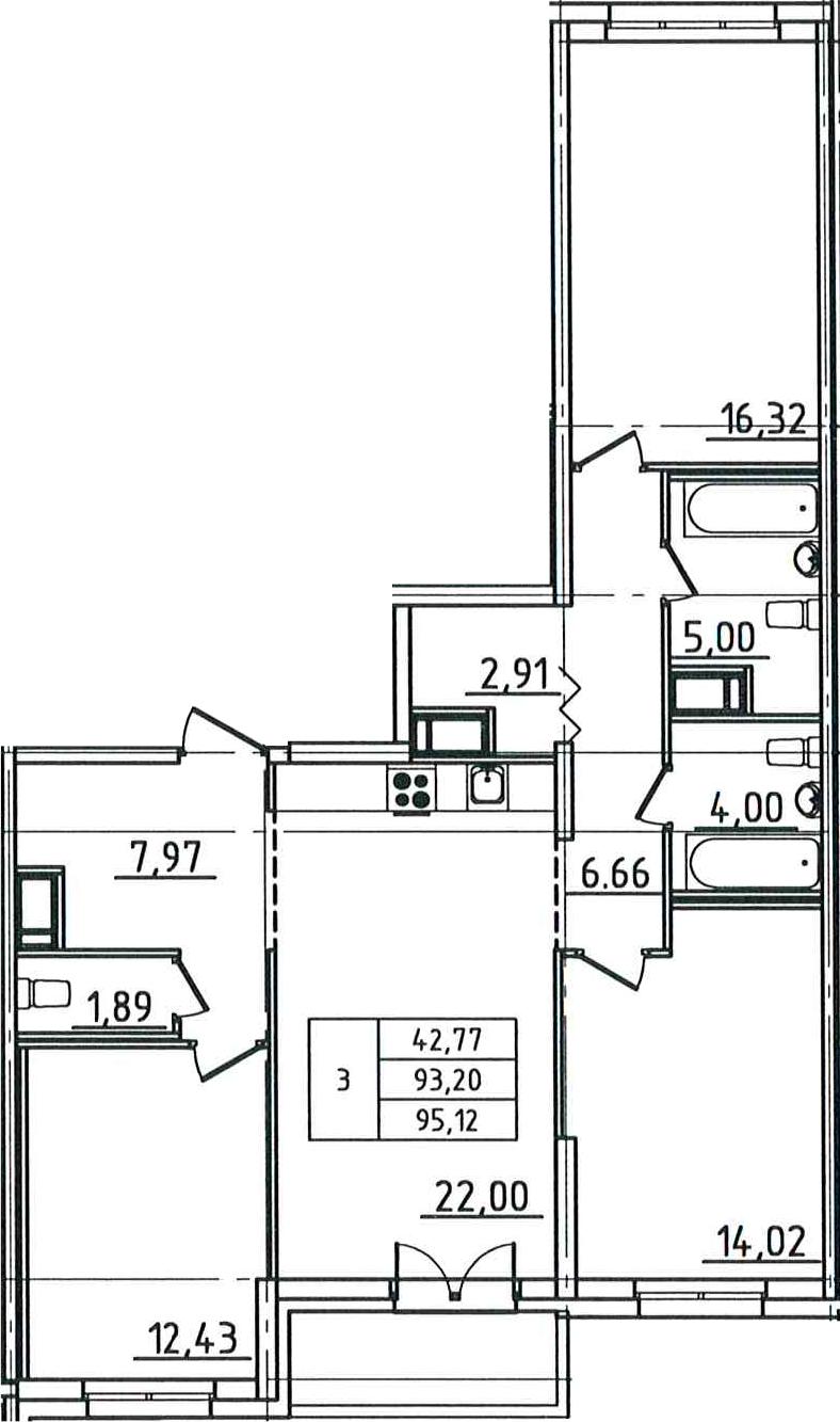 4Е-к.кв, 95.12 м²