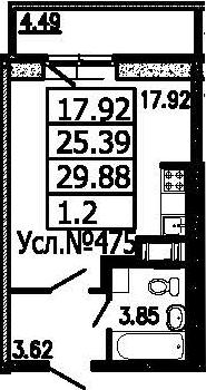 Студия, 29.88 м²