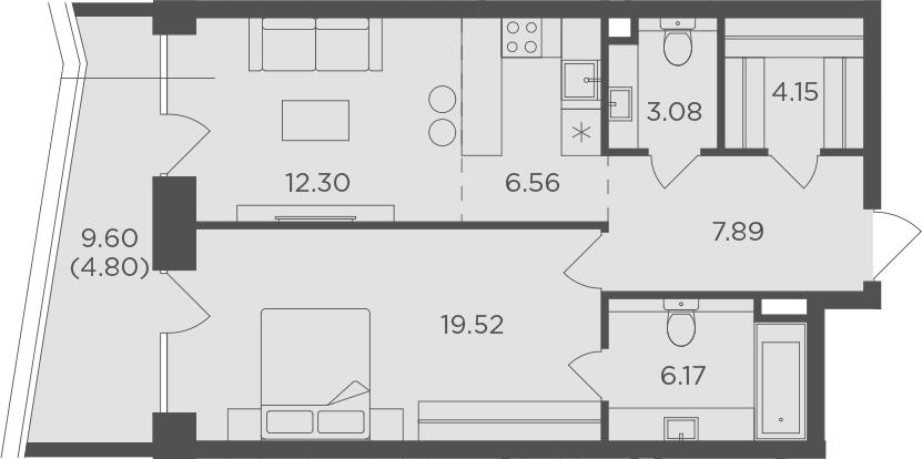 2Е-к.кв, 64.47 м², 7 этаж