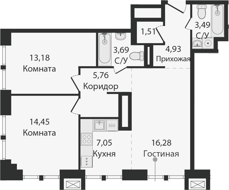 3Е-комнатная, 70.34 м²– 2