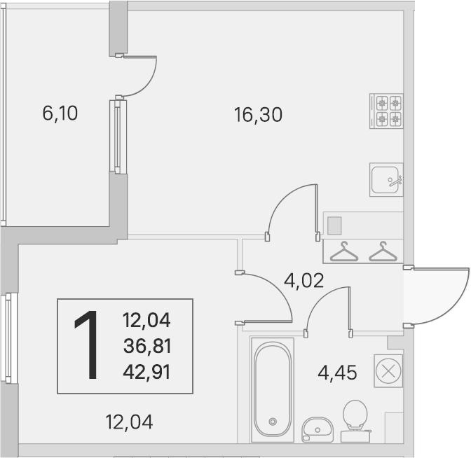 2Е-комнатная, 36.81 м²– 2