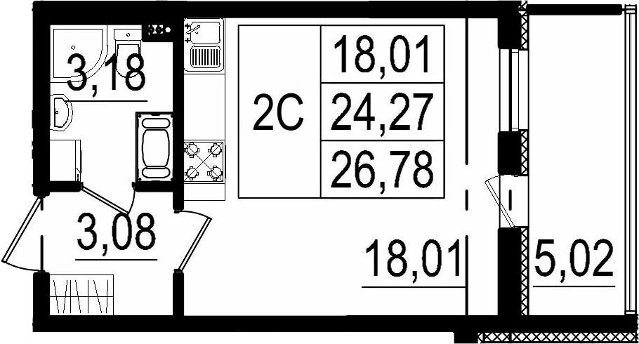 Студия, 24.27 м²