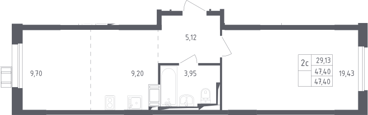 2Е-к.кв, 47.4 м²