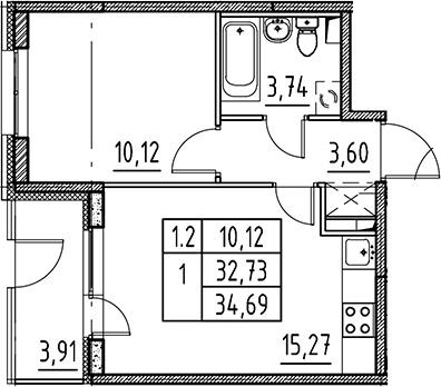 2Е-комнатная, 32.73 м²– 2