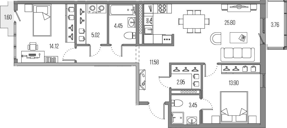 3-к.кв (евро), 86.63 м²