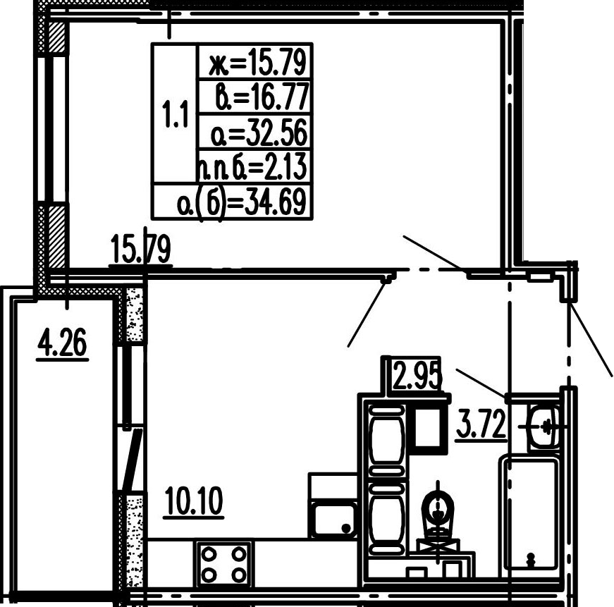 1-к.кв, 32.56 м², 16 этаж