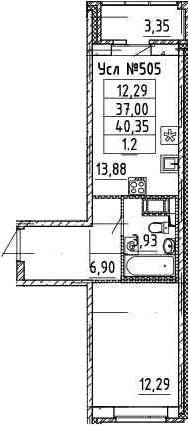 2Е-комнатная, 36.62 м²– 2