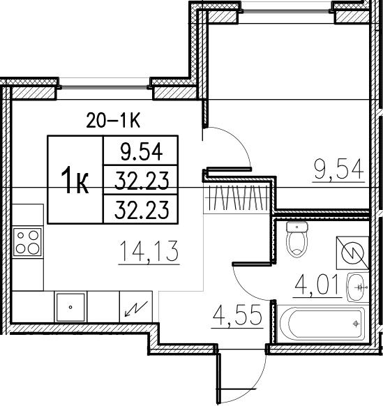 2-к.кв (евро), 32.23 м²