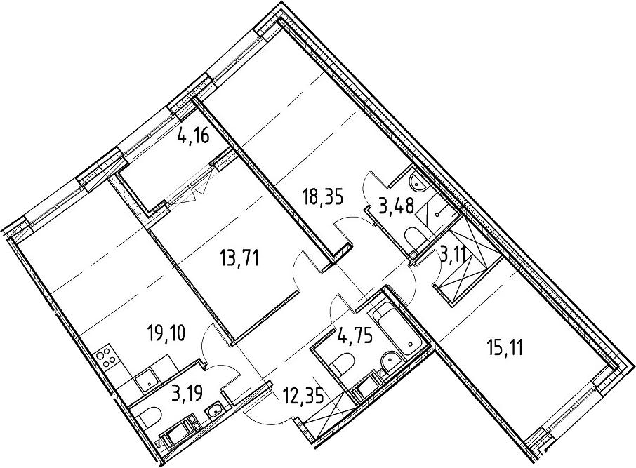 3-к.кв, 93.15 м², 3 этаж