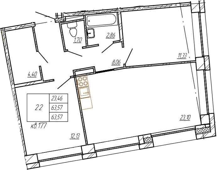 3Е-к.кв, 63.57 м²