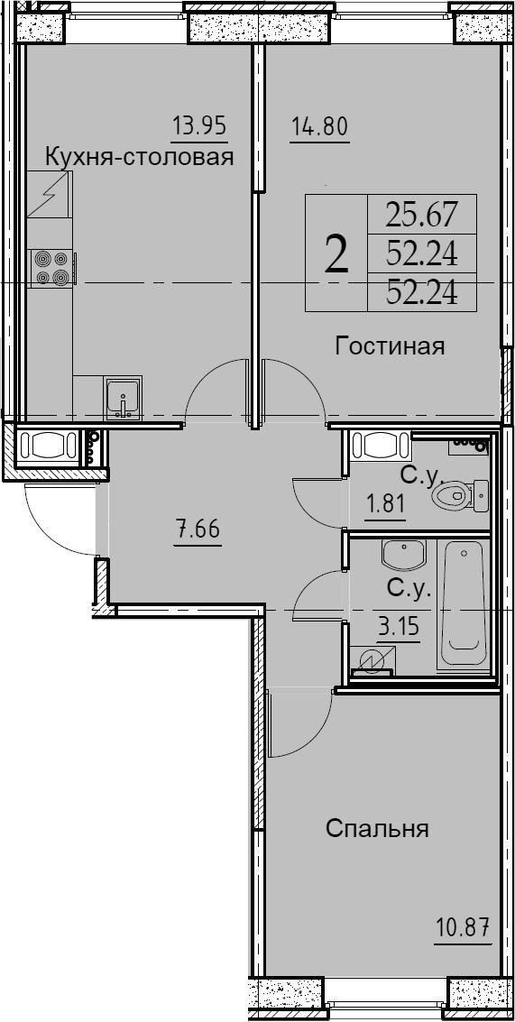 2-к.кв, 52.24 м²